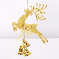 Wholesale Merry Christmas Elk Deer Bell Ornaments Christmas Tree Garland Wreath Jingle Bells Hanging Decoration For Home Navidad New Year