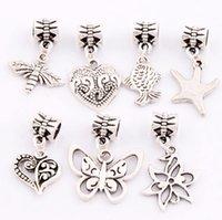 bees butterflies - 140pcs styles Antiqued Silver Heart Bee Butterfly Dangles Charm Beads Fit European Bracelet Jewelry DIY BM7