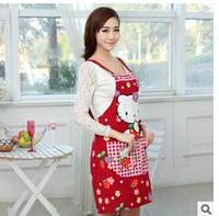 Wholesale Kawaii Hello Kitty Canvas Women Lady Cozinha Apron Home Avental De Cozinha Divertido Kitchen Aprons