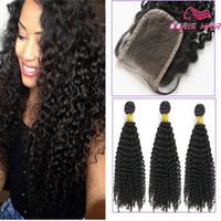Wholesale 8A Afro kinky Curly human Hair lace closure free part with Bundles Kinky Curly Human Hair Weave pieces human hair extensions