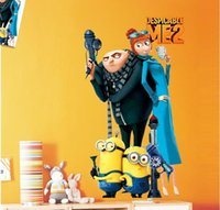Wholesale Funny Cartoon Movie Despicable Me Cute Minions Wall Sticker Kids Room Classroom Decor Gift for Kids Child Fans