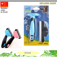Wholesale Professional Pet Dog deShedding Tool Cleaning and Grooming Hair Brush Dogs Cat Comb Pet Grooming Tools with Retail Box