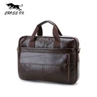 Wholesale CROSS OX Genuine Leather Mens Briefcase Laptop Bags Men s Travel Bag Cowhide Men Shoulder Bags Business Man Handbag bolsa HB388F