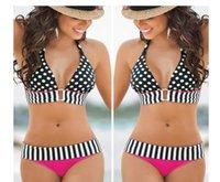 bandeau bikinis on sale - Hang neck dots Bikini Set Free ShipingWomen s Sexy Swimwear Bandeau Push Up Padded Bra Swimsuit on sale