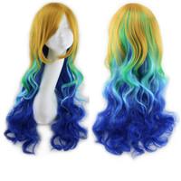 Wholesale Long wavy ombre color ladies synthetic hair wig green rainbow color japanese kanekalon fibre anime cosplay wig peruca