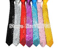 Wholesale color casual sequined thin skinny neckties Dance performance sequins Tie Narrow slim ties for men