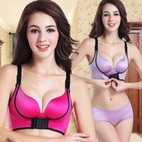 Wholesale NO Cup E cup magic bra front buckle drawing super sexy seamless push up gather wirefree adjustable underwear women bra set