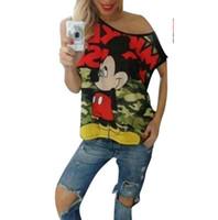 sweet tee shirts - New Cartoon Mickey Camouflage T Shirt Dress Big Size Women Mouse Print Tee Shirt Loose Casual Tees Sweet Minnie Tops