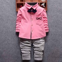 Wholesale Cotton Boys Suits Two Piece Shirts with Bow ties Striped Pants Hot Pink Green White Baby Set boutique Fashion Toddler Boy Clothes Autumn
