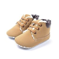 Wholesale 0 Months Baby Boys Shallow Boots Fleece Round Toe Ankle Boot Booties Crib Shoes Anti slip Kid Boy Winter Warm Plush Botas