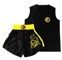 Wholesale Kid Adults Age Kung Fu Suits MMA Muay thai Boxing Shorts and Jerseys Red Black