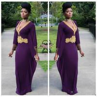 african lady pictures - Sexy Deep V Neck Dark Purple Evening Dresses With Long Sleeves Gold Beaded African Style Dubai Kaftan Ladies Formal Prom Dresses