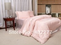 bedded or wedded - luxury pink silk cotton striped bedding sets for full queen noble duvet quilt cover bed linen bed clothes comforter set or pc