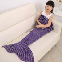 Wholesale Handmade Mermaid Tail Blanket for Kids Wool Knitted Mermaid Blanket Super Soft Cotton Children Swaddle Sleeping Bag