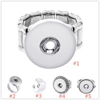 Wholesale 18mm Noosa Chunk Snap Button Elastic Rope Open Adjustable Ring DIY Noosa Ginger Snaps Interchangeable Jewelry For Women Men