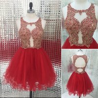 art pick - Real Photo Keyhole Back Short Homecoming Dresses Red Tulle Skirt Gold Lace Beaded Custom Made Graduation Occasion Ball Gowns Cheap