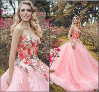 beautiful flower garden images - Hand Made Flowers Wedding Dresses Beautiful Sweetheart D Floral Appliques Tulle A line Wedding Gowns Sweep Train Princess Bridal Dress