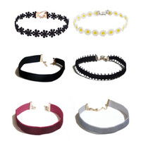 Wholesale Lace Velvet Choker Necklaces for Women with Pendant Charm inches Black White Silver Pink Claret