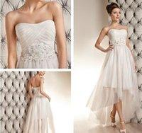 beach dress code - Short beach wedding dresses Sexy Strapless High Low Hi Lo Sweep Applique Beaded Standard code wedding dress New Year dress yo71