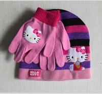 Wholesale Winter Pink Hot Pink Embroidery Cartoon Hello Kitty Years Children Girl Kid Hat Glove Set