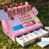 Wholesale Baby Toys Mother Garden Strawberry Simulation Cash Register Pretend Play Children Educational Wooden Toys Infant Birthday Gift