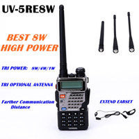 Wholesale BAOFENG UV RE8W walkie talkie W Power Dual Band VHF UHF FM Twoway Radio With Extended Earset and Antennas