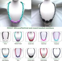 baby testing - New Teether teething necklaces mum mm Beads Silicone pendant teething Baby necklace chew jewellery FDA LFGB Test Accept color choose free