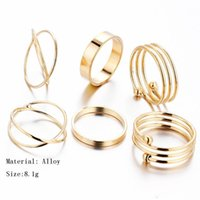 Cheap 6pc set Retro Knuckle Midi Mid Finger rings Cluster Rings for women big girl Tail ring foot ring