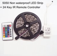 Wholesale Super Bright V LED RGB Strip SMD LED Flexible Tape Light M Roll Non Waterproof Dimmable Ribbon Key RGB IR Remote Controller