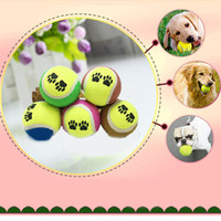 Wholesale Pet tennis Dog Puppy Play Toy Tennis Ball Chews Toys Paw Print Outdoor Sport Catch Fetch Training Multicolor Footprint Pattern