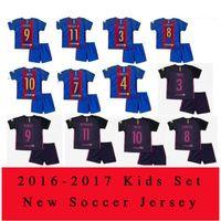 barcelona children - 16 Kids Barcelona jerseys MESSI ARDA A INIESTA SUAREZ SERGIO PIQUE I RAKITIC NEYMAR JR home and away child Football shirts
