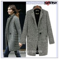 Wholesale Trendy Fashion Winter Autumn Houndstooth Women Coat Long Outwear Long Coat for Women Fall Coat Female Jacket