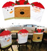 Wholesale Christmas Chair Back Santa Elk Snowman Chair Cover Christmas Decorations Santa Red Hat Chair Back Covers Dinner Decor PPA474