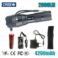 Wholesale Professional LM CREE XML T6 LED Flashlight High quality Modes Zoomable lanterna LED Torch Lighting for battery or xAAA