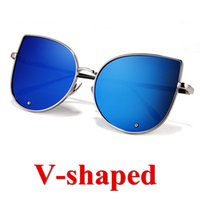 arrival flash designer - New arrival V shape Flash Mirror Sun Glasses UV400 High Quality Metal Frame Brand Designer Men Woman Sunglasses