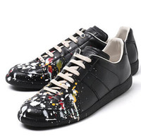 Wholesale All Newly Maison Martin Margiela MMM Leather Ink Low Tide Graffiti Casual Men Shoes
