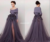 Wholesale Modest Gray Long Sleeve Pageant Evening Gowns Off Shoulder Side Split Tulle Handmade Flowers Women Celebrity Party Gowns Prom Dresses