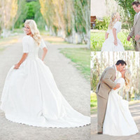 Wholesale Modest Plus Size Wedding Dresses With Sleeves Lace Vintage Wedding Gowns Court Train Pleats Satin Applique Bridal Gowns