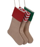 arrival gifts - new arrival high quality canvas Christmas stocking gift bags canvas Christmas Xmas checvron stocking decorative socks bags inch