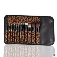 Wholesale Fashion Leopard print set Cosmetic Brush Set Makeup Brush Powder Eyeshadow Eyelash Blush Wooden holder