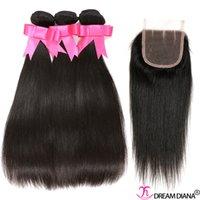 cheap black hair - High Quality Brazilian Virgin Hair Straight With Closure Brazilian Straight Virgin Hair Bundles Closure Cheap Hair Bundles For