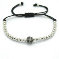 best gifts adjust - Best Quality Women Bracelet K Gold Rose Plating mm Round Beads amp mm Black CZ Charm Bracelet For Women Gift Adjust Size