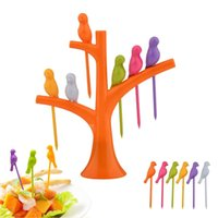 Wholesale Creative pc Bird Fruit Forks with Tree Shaped Stand Party Utensils