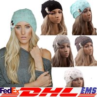 Wholesale Fashion Women Knitting Hat Casual Hollow Out Leaves Lace Button Wool Hat Female Free DHL XL A09