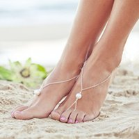 Wholesale European and American fashion accessories Women sexy pearl barefoot sandals foot bracelet Bridal jewelry beach foot jewelry