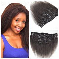 Clip principal de 12inch-26inch de Yaki de la cabeza en el pelo humano brasileño puro de las extensiones 120g del pelo yaki 8A del pelo humano brasileño recto natural 100% humano