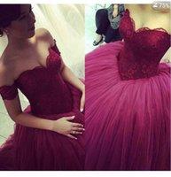 Cheap Real Image Burgundy Lace Wedding Dresses Tulle 2016 Off-shoulder Sweetheart Dubai Arabic Custom Made Bridal Ball Gown Chapel Train
