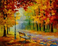 art wall street - Landscape Night Park Street Chair Pure Hand Painted Modern Wall Decor Art Oil Painting On High Quality Canvas customized size accepted al MY