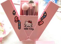 Cheap Hello Kitty 8 Jian Makeup Brush set professional Makeup tools portable storage box full set of factory outlet DHL Free shipping