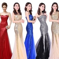 grace karin - One Shoulder Custom Floor Length Sequined evening dressess Party Formal special occasion haute couture dresses with Zipper grace karin QW720